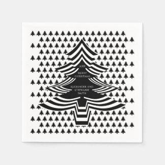 Serviette Jetable Motif d'arbre de police d'image Noël noir/blanc