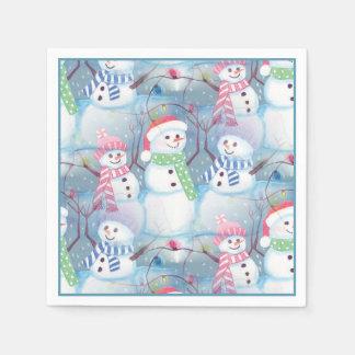 Serviette Jetable Motif drôle coloré mignon de bonhomme de neige de