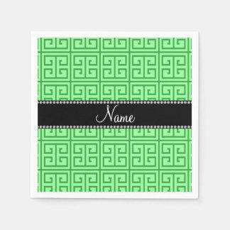 Serviette Jetable Motif principal grec vert clair nommé personnalisé