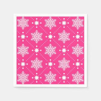 Serviette Jetable Motif rose et blanc Girly de Noël de flocons de