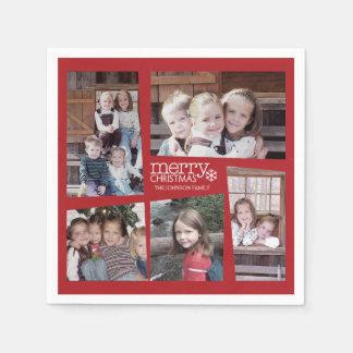 Serviette Jetable Noël de collage de vacances de 5 photos rétro