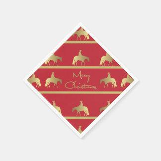 Serviette Jetable Noël occidental d'or de rouge de cheval de plaisir