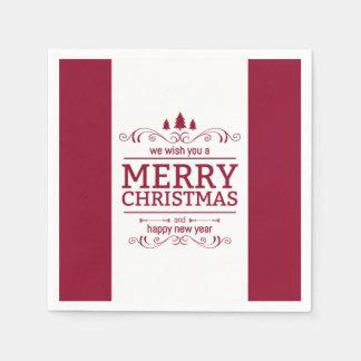 Serviette Jetable Noël rouge et blanc et nouvelle année