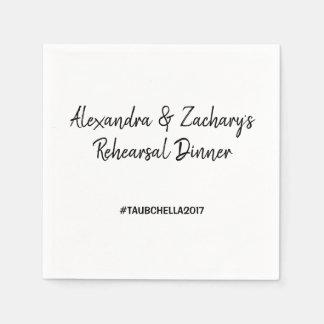 Serviette Jetable Noir de Hashtag de serviettes de dîner de