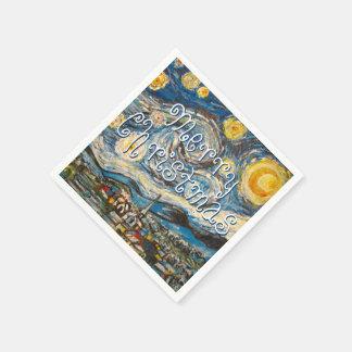 Serviette Jetable Nuit étoilée de Joyeux Noël après Van Gogh