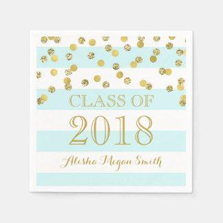 Serviette Jetable Obtention du diplôme 2018 bleu-clair de confettis
