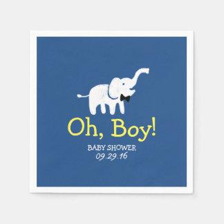 Serviette Jetable Oh baby shower de bleu marine d'éléphant