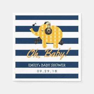 Serviette Jetable Oh le bleu marine d'éléphant de bébé barre le baby