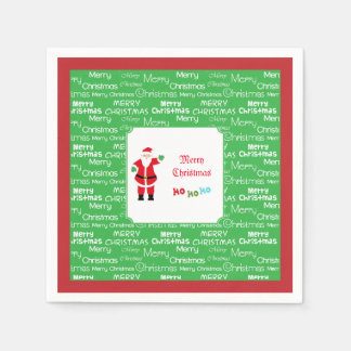 Serviette Jetable Ondulation de Père Noël de Joyeux Noël