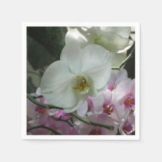 Serviette Jetable Orchidées blanches et pourpres