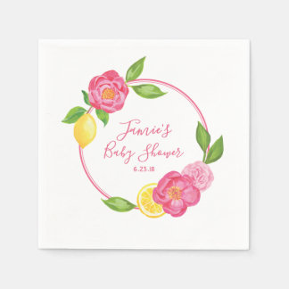 Serviette Jetable Partie de baby shower rose florale de citron