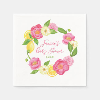 Serviette Jetable Partie de baby shower rose florale de citron fait