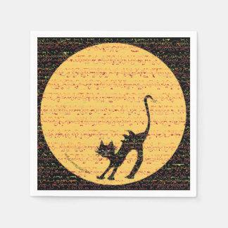 Serviette Jetable Partie de Halloween de chat noir de courbement et