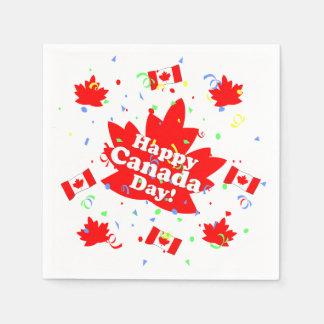 Serviette Jetable Partie heureuse de jour du Canada