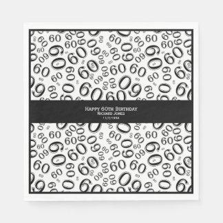 Serviette Jetable Personnalisez :  Soixantième thème noir et blanc