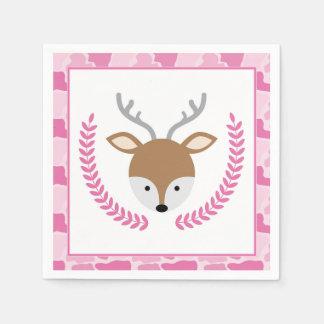 Serviette Jetable Petites serviettes roses de baby shower de cerfs