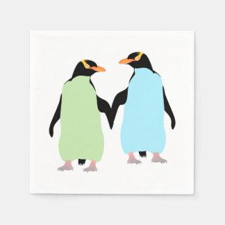 Serviette Jetable Pingouins de gay pride tenant des mains