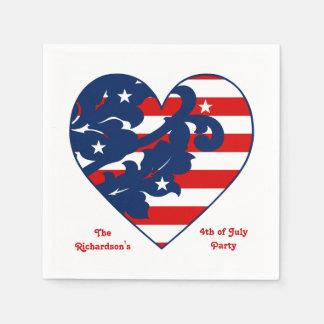 Serviette Jetable Quatrième de coeur patriotique de Jour de la
