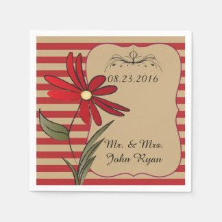 Serviette Jetable Rayure rouge et bronzage florale