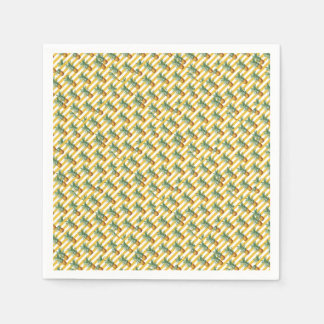 Serviette Jetable rayures jaunes de pinepples