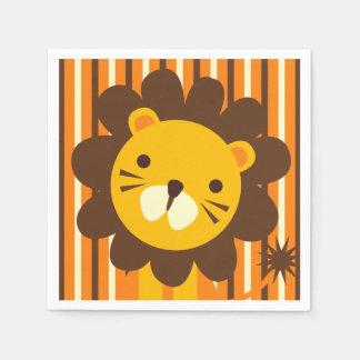 Serviette Jetable Rétro lion sur les serviettes de papier de rayures