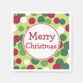 Serviette Jetable Rétros joyeuses serviettes vertes de fête de Noël