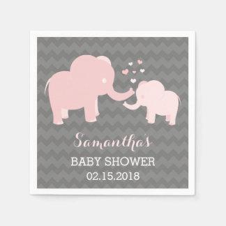 Serviette Jetable Rose de baby shower d'éléphant et serviettes de