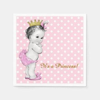 Serviette Jetable Rose et princesse baby shower d'or
