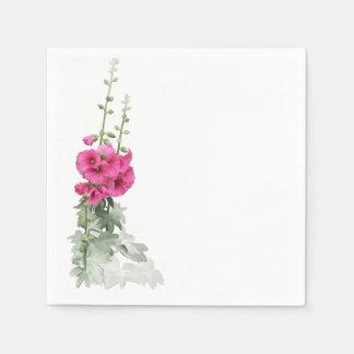 Serviette Jetable Roses trémière roses