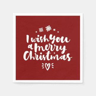Serviette Jetable Rouge et blanc je vous souhaite un Joyeux Noël
