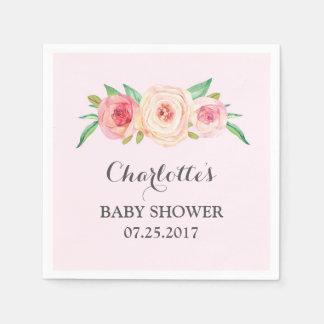 Serviette Jetable Rougissent le baby shower floral rose