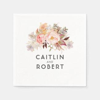 Serviette Jetable Rougissent le mariage floral élégant rose