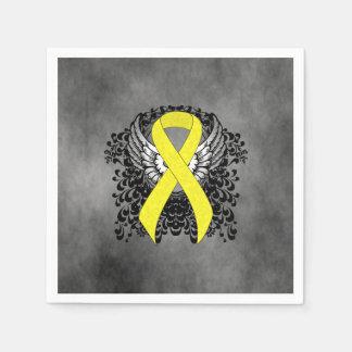 Serviette Jetable Ruban jaune avec des ailes