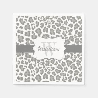 Serviette Jetable Serviette blanche et grise de léopard de