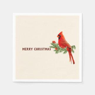 Serviette Jetable Serviette de papier cardinale rouge de Joyeux Noël