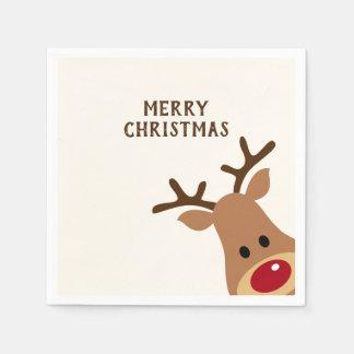 Serviette Jetable Serviette de papier de Joyeux Noël de renne de