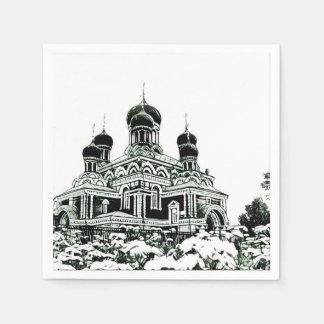 Serviette Jetable Serviette de papier d'église noire et blanche de