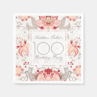 Serviette Jetable Serviette de papier florale de fête d'anniversaire