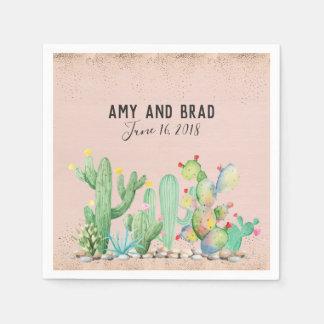 Serviette Jetable Serviette fascinante de mariage de cactus