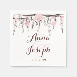 Serviette Jetable Serviette florale de mariage de branche rose