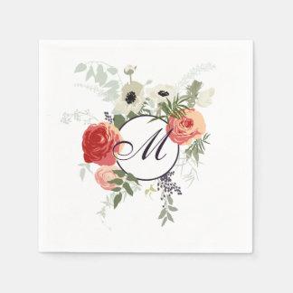Serviette Jetable Serviette florale élégante du monogramme | de