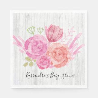 Serviette Jetable Serviette florale en bois blanche rustique de