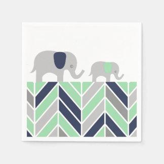 Serviette Jetable Serviette moderne de bébé d'éléphants de Chevron