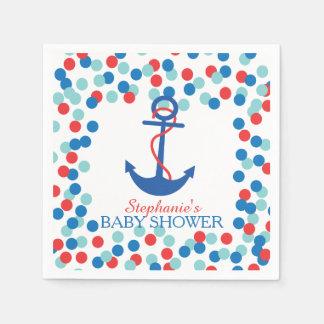 Serviette Jetable Serviette nautique de baby shower d'ancre de