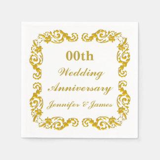 Serviette Jetable Serviette personnalisée d'anniversaire de mariage