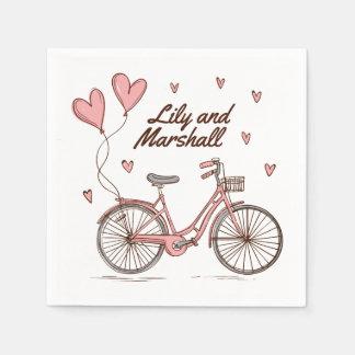 Serviette Jetable Serviette personnalisée des coeurs   de bicyclette