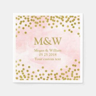 Serviette Jetable Serviette rose de mariage de confettis d'or