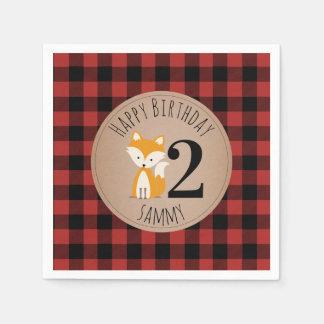 Serviette Jetable Serviettes d'anniversaire de bébé de plaid de