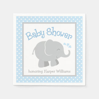 Serviette Jetable Serviettes de baby shower d'éléphant | bleu et
