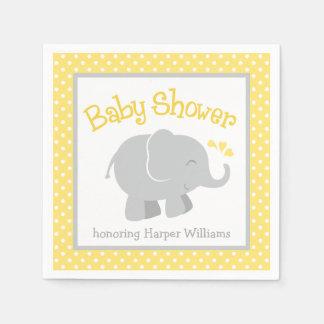 Serviette Jetable Serviettes de baby shower d'éléphant | jaune et